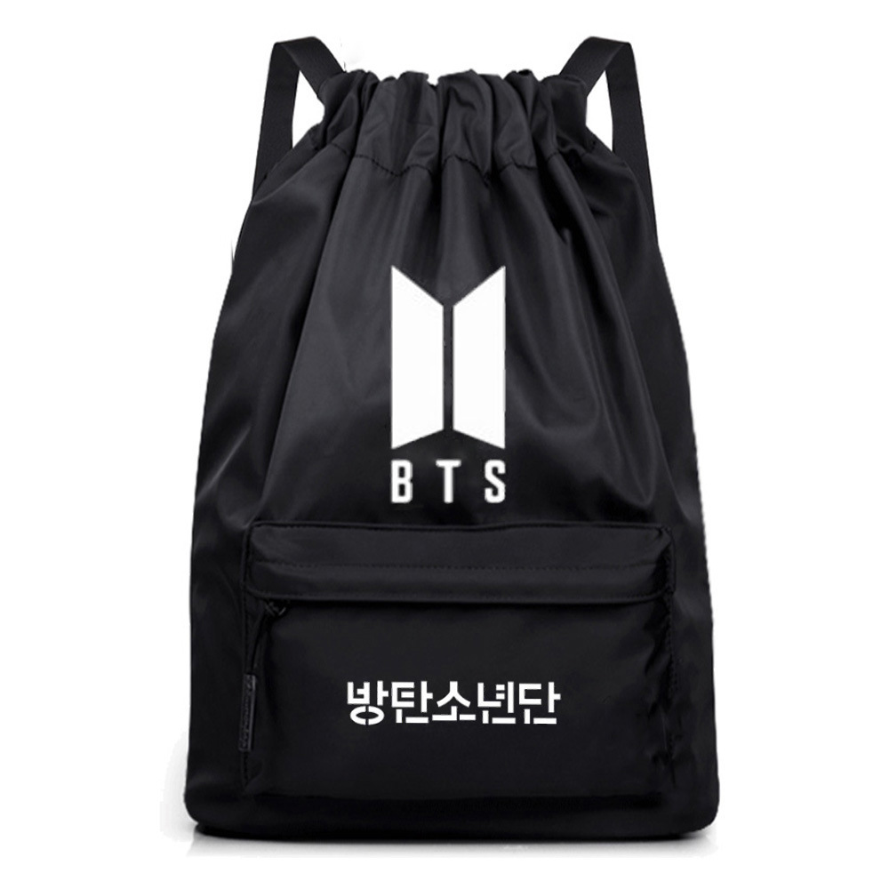 Batch Canvas Bag BTS New Korean Drawstring Bag Custom Bulletproof Juvenile Backpack Student School Bag Outdoor Travel Bag