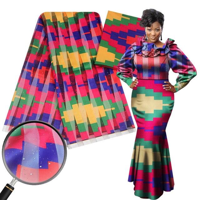 4 Yards Silk fabric and 2 yards chiffon Fabric African Wax Print,Ghana Fabric Ankara Silk Fabric,Ankara Chiffon Fabric Nigeria Fabric