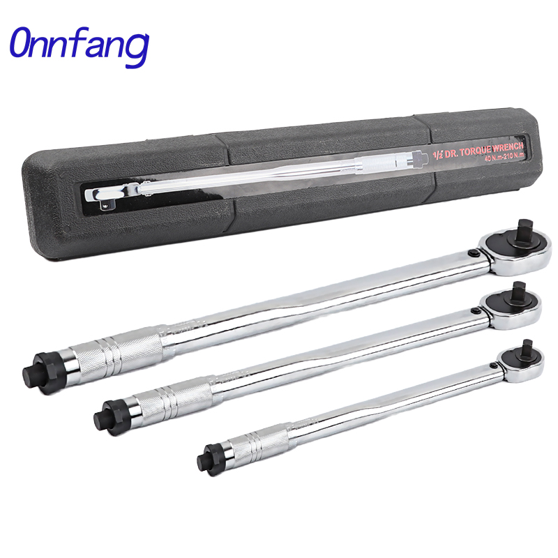 Onnfang Torque Wrench Bike 1/4 3/8 1/2 Square Drive 5-210N.m Two-way Precise Ratchet Wrench Repair Spanner Key Hand Tools
