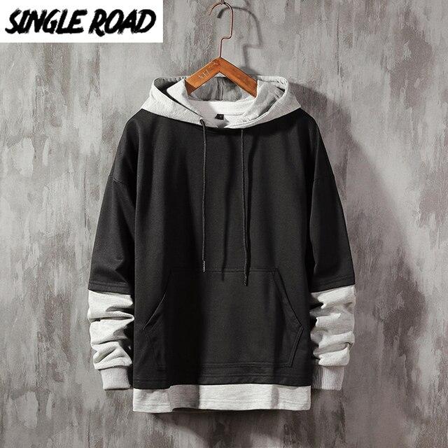 SingleRoad Men s Hoodies Men Plain Patchwork Sweatshirt Male Pullover Hip Hop Harajuku Japanese Streetwear White Hoodie Men