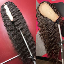 Wig Human-Hair Deep-Curly-Wave Lace-Front Pre-Plucked Black-Women Brazilian 10A Royal
