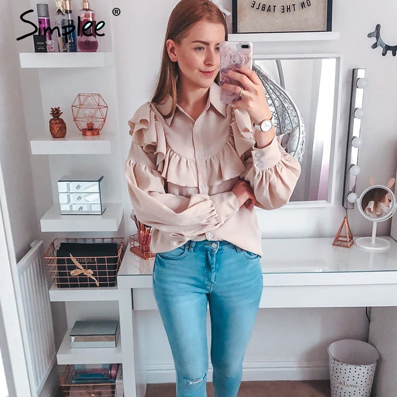 Image 2 - Simplee Vintage ruffled women blouse shirt Elegant lantern sleeve buttons female tops shirts Autumn winter office ladies blousesBlouses & Shirts   -
