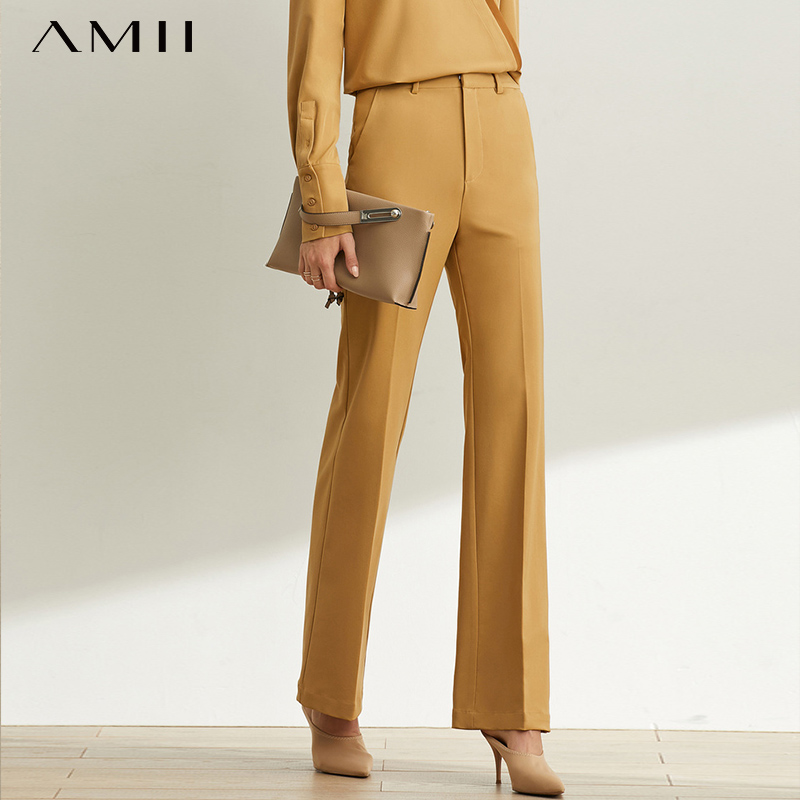 Amii Minimal Western Style Leisure High Waist Vertical Feet Wide Leg Pants For Women Spring New High Skinny Horn Pants 11930242