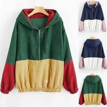купить 2019 Women's Hoodie Splicing Zipper Pocket Female Hooded Cap Long Sleeves Pullover Sweatshirt L0816 дешево