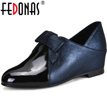 FEDONAS Concise Chunky Heels Pumps Butterfly Knot Genuine Leather Women Shoes 2020 Top Quality Night Clud Basic Shoes Woman