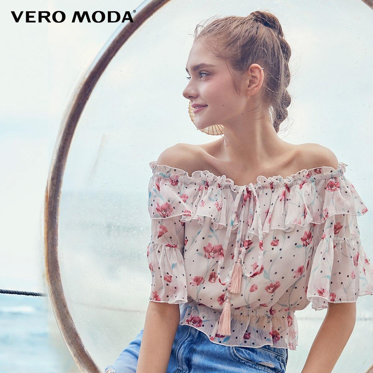 Vero Moda Women's Floral Print Ruffled Off-the-shoulder Chiffon Shirt | 31926X527