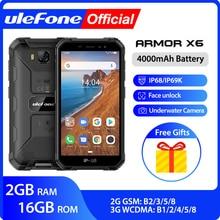 Ulefone armadura X6 IP68 MT6580 resistente impermeable Smartphone Android 9,0 teléfono móvil del teléfono celular del teléfono/Quad-core/4000 mAh/2 GB 16 GB/3G