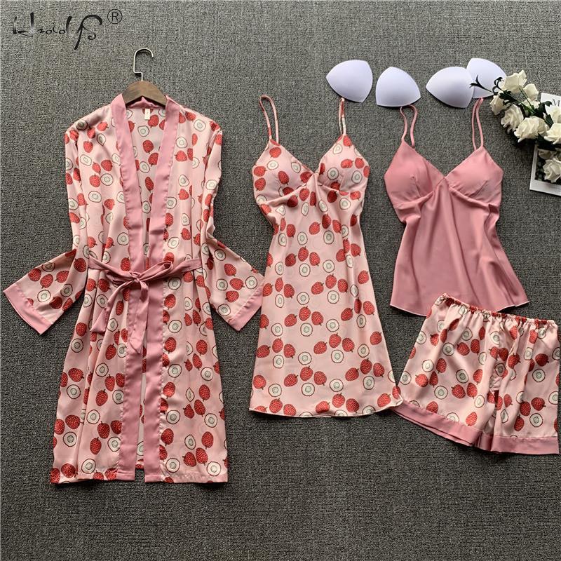 Women Casual Floral Print Silk Pyjamas 4 Pieces Sets Sexy Female Satin Pajama Summer Pijama Mujer Sleepwear For Women Chest Pads