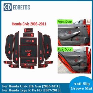 Коврик для паза двери автомобиля для Honda Civic 8th Gen 2006-2011 и Honda Type R FA FD 2007-2010 Нескользящие Коврики для межкомнатной двери/чашки