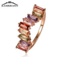 W בצורת עיצוב טבעת צבעוני זירקון ריינסטון אישה חתונה טבעות זהב ריבוני Creative גשר תכשיטים