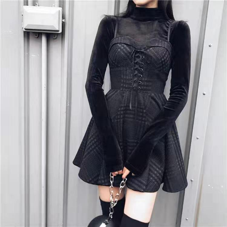2020 Women Plaid Pleated Mini Dress Gothic Harajuku Sexy Sling Strap Backless Rock Punk Jurken Goth Girls Female Short Vestidos