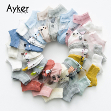 5 Pairs/lot Baby Socks Mesh Thin Cotton Boy Girl Short Color Cute Cartoon Toddler Children 0-5T