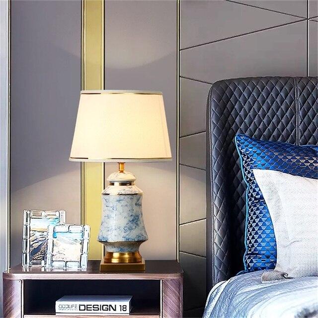 Фото керамические настольные лампы oufula синие латунные современные цена