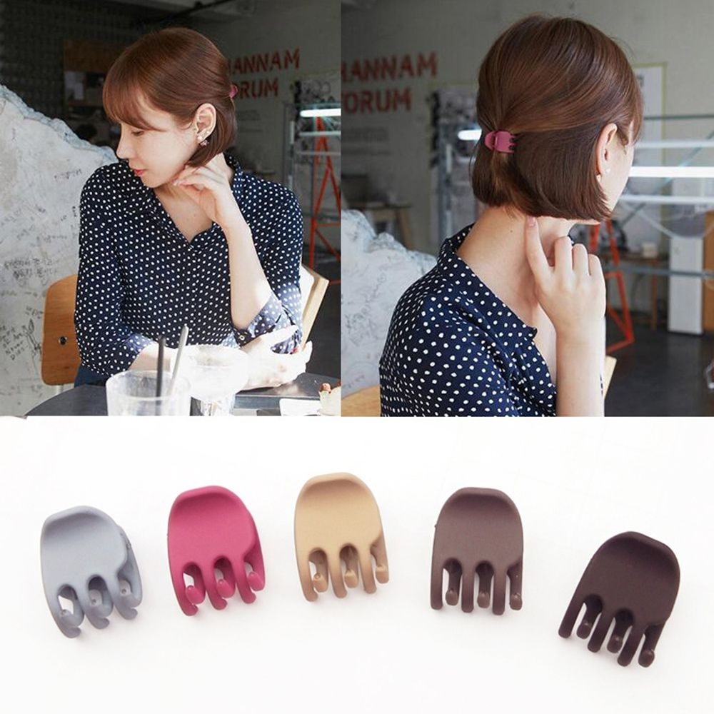 Simple Korea Mini Grab Hair Clip Solid Color Hair Claws Women Girls  Temperament Frosted Acrylic  Hairpin  DIY Hair Styling Tool