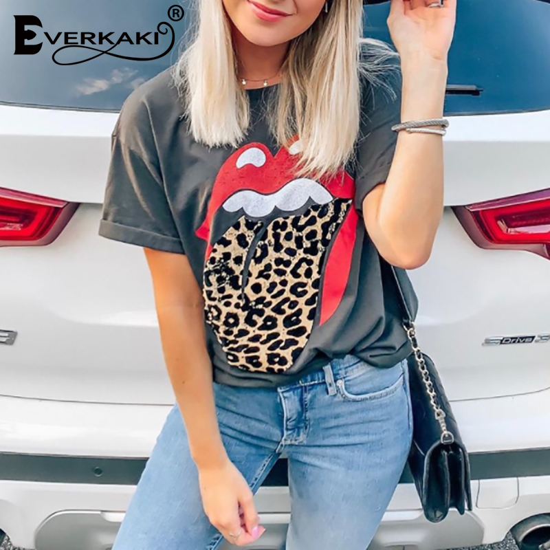 Everkaki T-shirt Tops Women Boho Retro Print Summer Tees Streetwear Ladies Gypsy Top T-shirts Female 2020 Spring New Fashion
