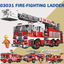 Compatible Legoed Technic City Fire Truck Car Building Blocks Rescue Ladder Cars Brick Toys XINGBAO 03028 lepinblocks king(China)