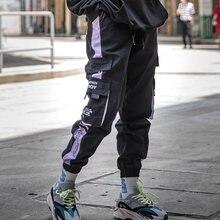 Hip hop calças de carga dos homens streetwear casual cintura elástica joggers calças moletom colorblock harajuku harem