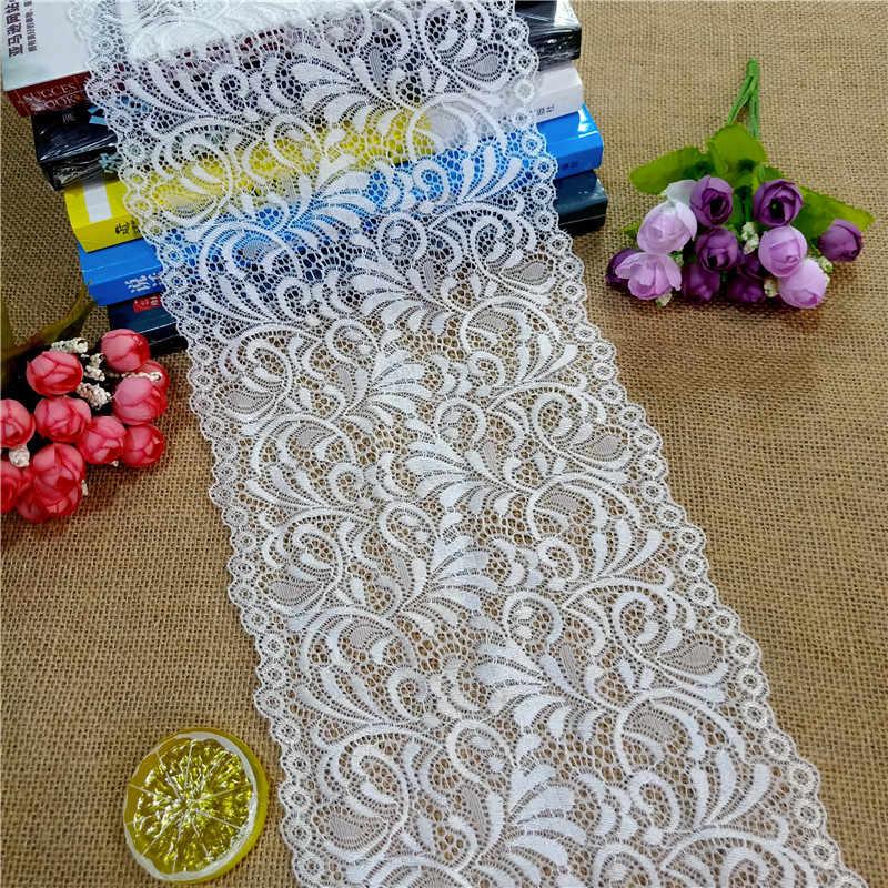 E2801 * 18.5 CENTIMETRI di Pizzo elastico del merletto del tessuto del nastro per la cerimonia nuziale del tessuto elastico della decorazione del merletto bianco di grandi dimensioni bordo
