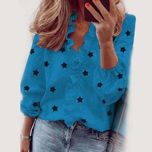 Star Printed Long Sleeve Ruffles Blouse Shirt 2020 New Fashion Female Clothing Casual Elegant White Blue Tops Plus Size S-3XL 2