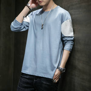 T-Shirt Men 2020 Spring Autumn New Long Sleeve O-Neck T Shirt Men Brand Clothing Fashion Patchwork Cotton Tee Tops Streetwear