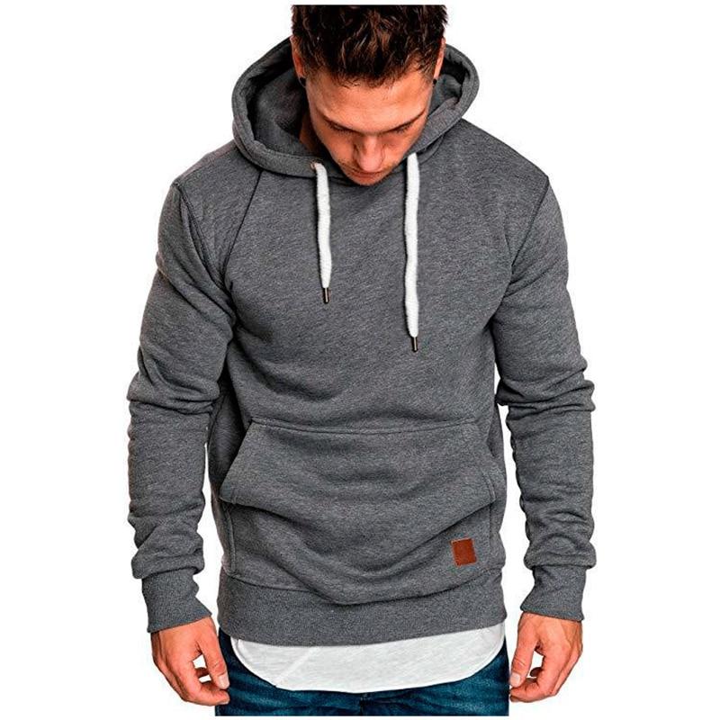Autumn Winter Men's Hoodies Long Sleeve Hoody Sweatshirt Top Solid Drawstring Pullovers Hoodies Men Clothing Sports Sweatshirts