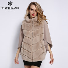 WINTER PALACE 2019 Women's Winter Rabbit Fur Coat Bat Stand Collar Cashmere Stitching Sleeves Short Sleeve Jacket rea fur Coat(China)