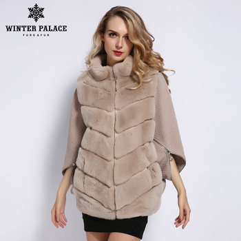 WINTER PALACE 2019 Women's Winter Rabbit Fur Coat Bat Stand Collar Cashmere Stitching Sleeves Short Sleeve Jacket  rea fur Coat