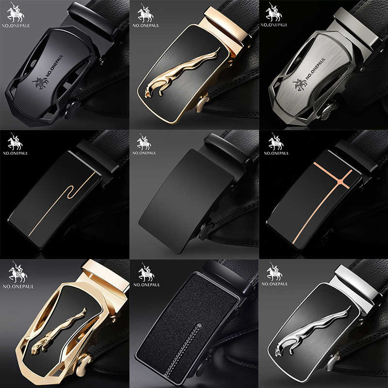 Tidak Ada. Onepaul Merek Fashion Gesper Hitam Asli Leather Belt Ikat Pinggang Pria Kulit Sapi Ikat Pinggang untuk Pria 3.5 Cm Lebar WQE789