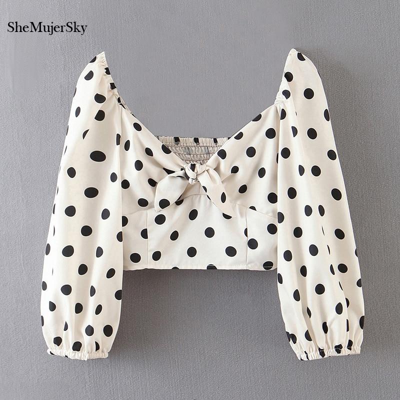SheMujerSky White Women Deep V-neck Bow Tops Dot Print Short Sleeve Crop Top 2020 Summer Womens Blouses