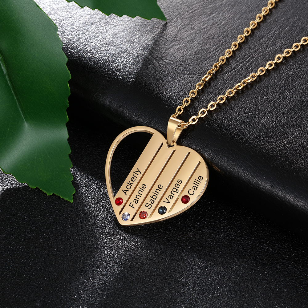 316L Stainless Steel 5 Birthstones Heart Pedant Necklace Personalized Engraved Children Names Mother Necklace Custom Jewelry