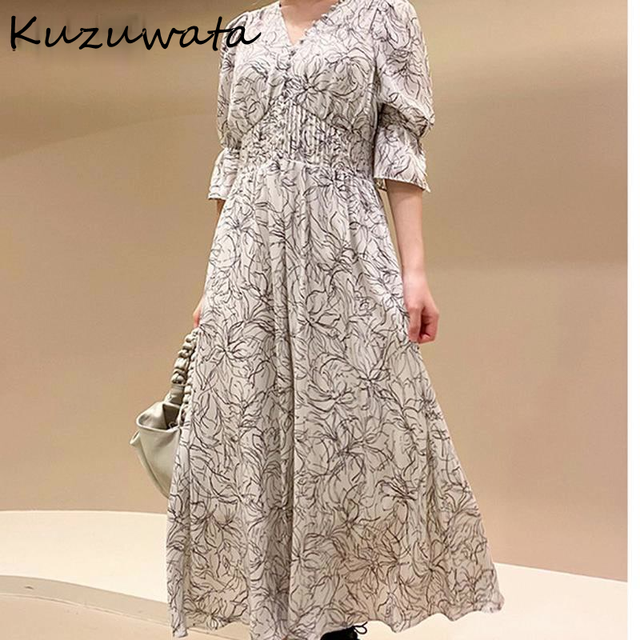 Kuzuwata V Neck Long Sleeve Slim Pullover Dress Women Vintage Print High Waist Hip A Line Long Vestidos Spring 2021 New Robe 2