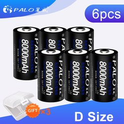 PALO 2~8PCS 8000 mAh 1.2V D size rechargeable battery batteries for flash light gas cooker radio refrigerator with battery case