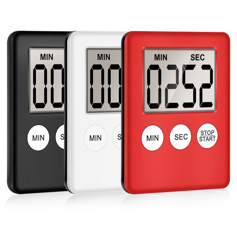 Супертонкий кухонный таймер с цифровым ЖК-дисплеем, квадратный таймер для приготовления пищи, обратный отсчет, будильник, магнитные часы, В...