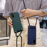 Crossbody Schouder Koord Back Cover Voor Huawei P40 P30 P20 Lite P10 P40 Pro Plus P9 P8 Lite 2017 Case ketting Lanyard Touw Ketting