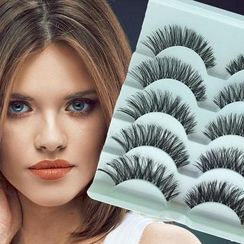 5 Pairs Stunning Makeup Handmade Messy Natural Cross False Eyelashes Eye Lashes They can be removed by eye makeup remover. image