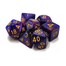 Высокое качество 6 цветов Творческий Вселенная Галактика кости набор D4-D20 блестящий порошок удивительный эффект для DnD MTG Настольный RPGs игры