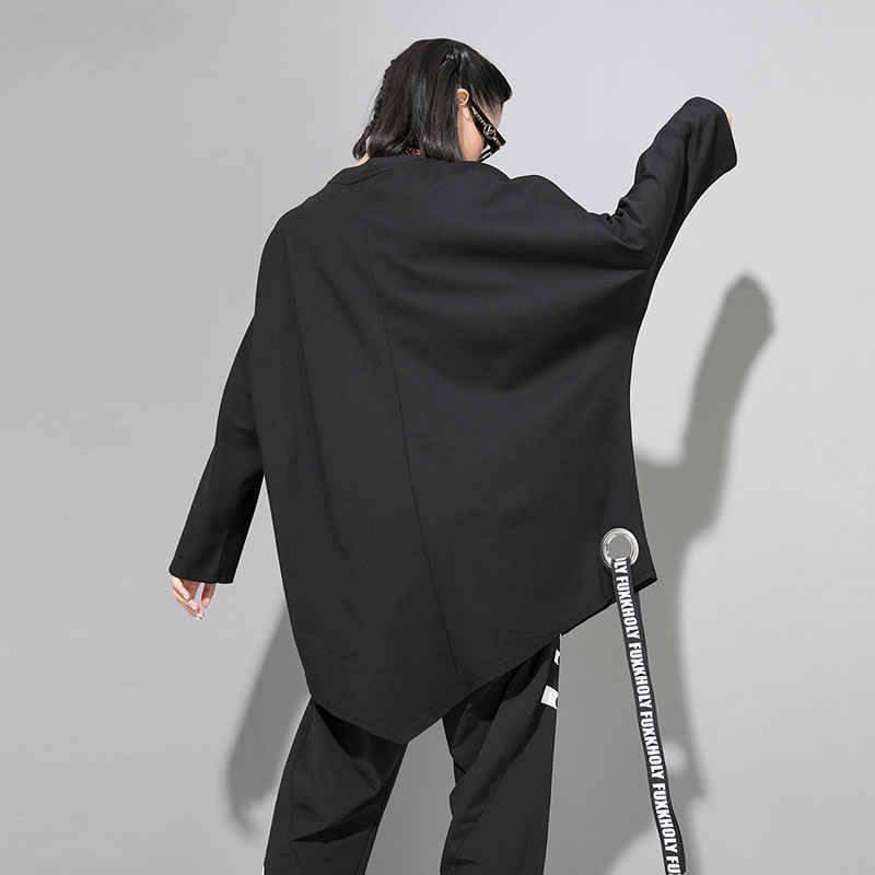 XITAO forage ruban impression t-shirt femmes vêtements 2019 mode pull marée lettre irrégulière t-shirt personnalité nouveau WQR1661