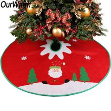OurWarm 90cm Non-Woven Christmas Tree Skirt Christmas Decorations Tree Santa Decoration for Home Xmas Tree Skirt New Year