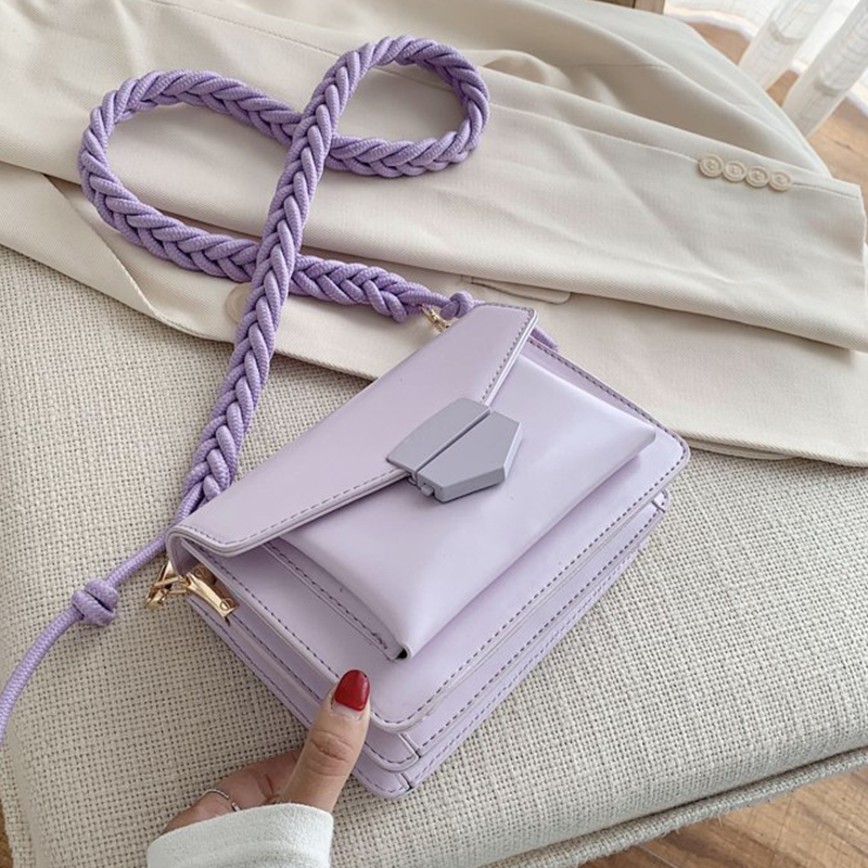Solid Color PU Leather Sac A Main Femme Purple Crossbody Bags For Women 2020 Summer Small Shoulder Handbags Female Chain Bag