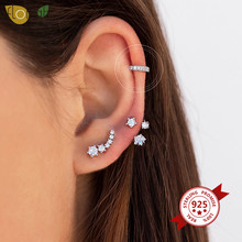 1PC Charming 925 Sterling Silver Zircon Helix Clip Earrings For Women Shiny Crystal Climber Ear Cuff Without Piercing Jewelry