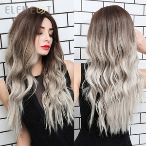 Element Synthetic Dark Root Light Brown Ombre Grey Long Wavy Hair Wigs Center Part Cosplay Costume Wig for White Black Women(China)