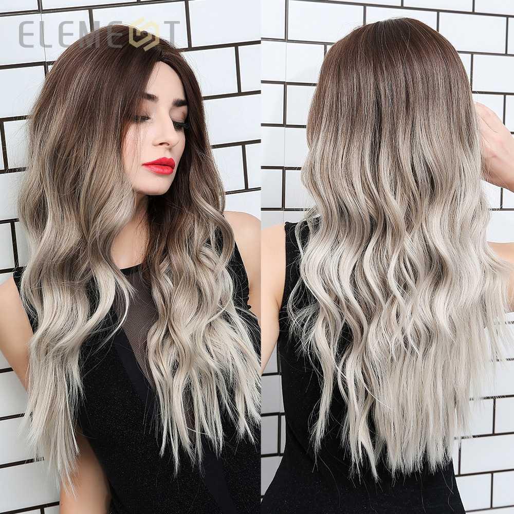 Element syntetyczny ciemny odrost jasnobrązowy Ombre szary peruki z długimi falowanymi włosami centrum część przebranie na karnawał peruka dla białych czarnych kobiet