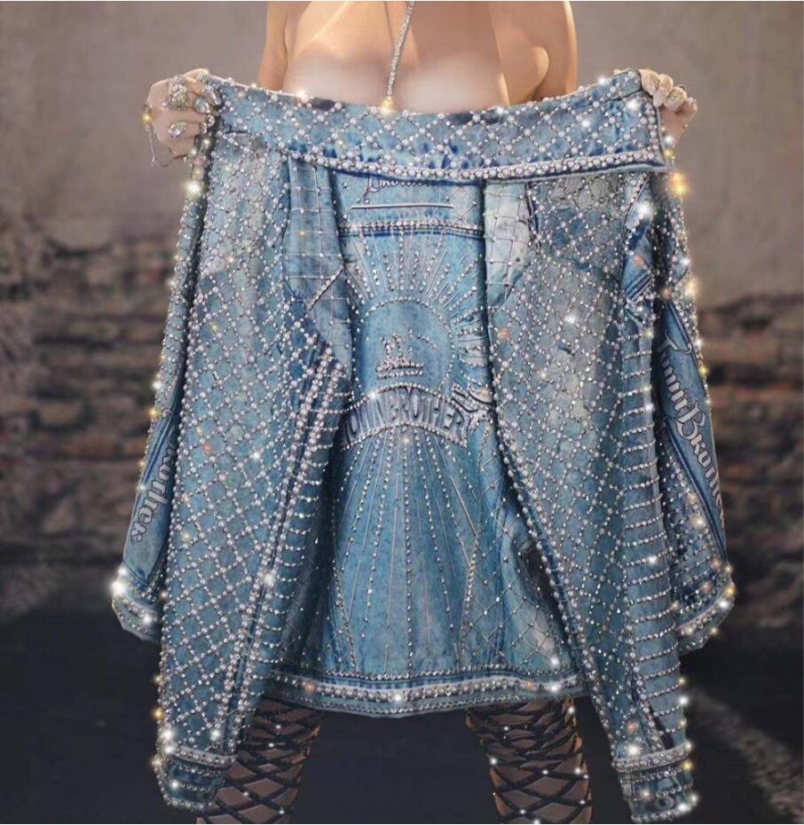 Flashing Rhinestones Pearls Denim Jacket Silver Stone Blue Blazer Prom Outfit Evening Singer Show Dancer Stage Wear