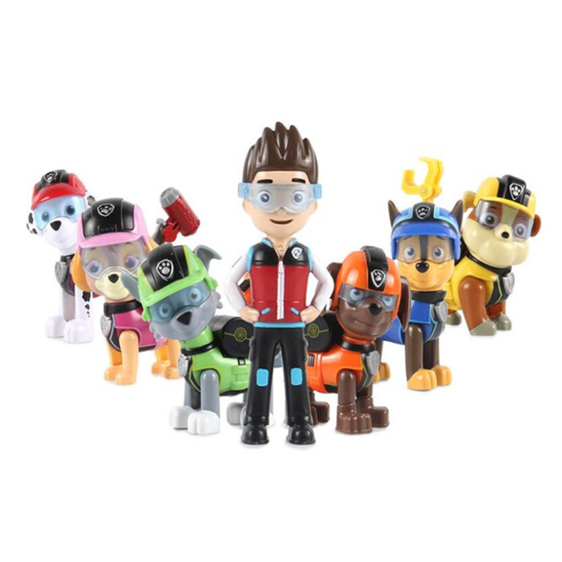 Hot 7pcs/set Paw Patrol Dog Puppy Anime Figure Skate Canine Action Figure Model Toys For Kids Christmas Gifts