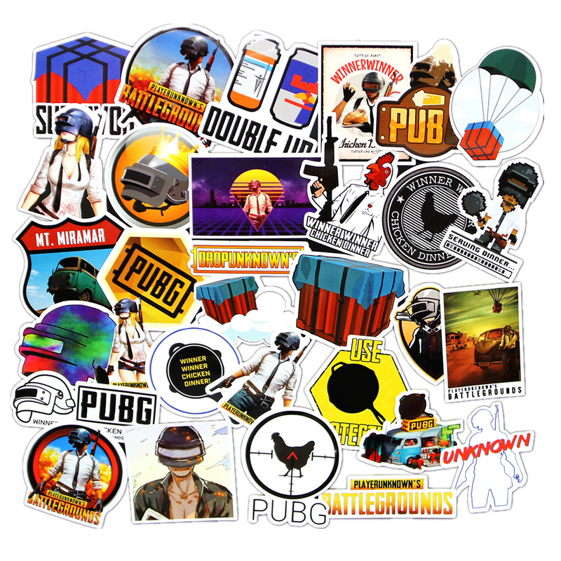 29pcs/Set PUBG Cosplay Sticker Props PLAYERUNKNOWN'S BATTLEGROUNDS Scrapbook Craft Decor Luggage Case Sticker Fridge Sticker