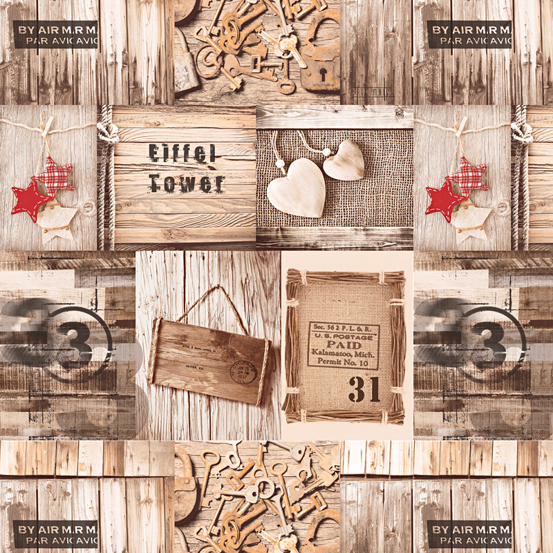 Retro Nostalgic Imitation Wood-grain Wood Board Background Wallpaper Coffee Shop Internet Cafes Graffiti South Korea Korean Styl