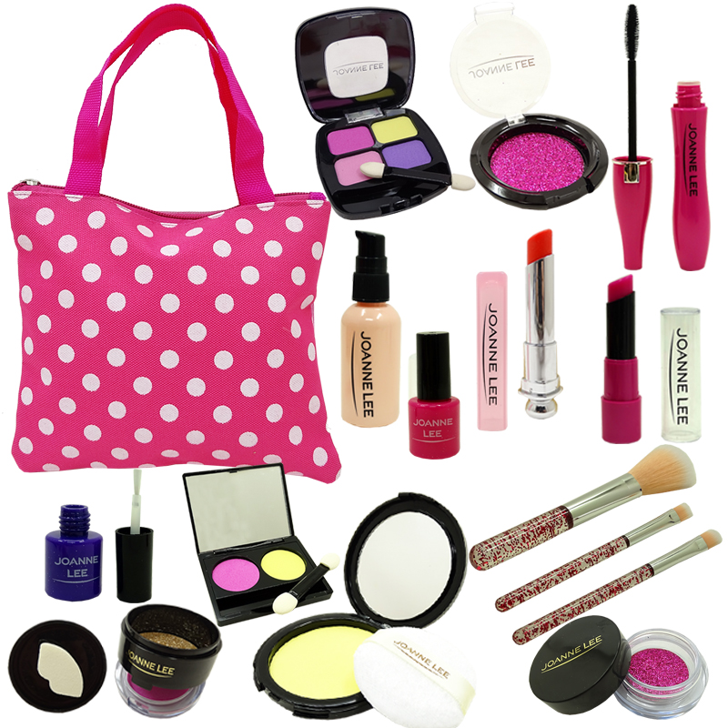 Girls Make Up Toy Set Pretend Play Beauty Princess Pink Makeup  Safety Non-toxic Kit Toys For Girls Dressing Cosmetic Travel Bag
