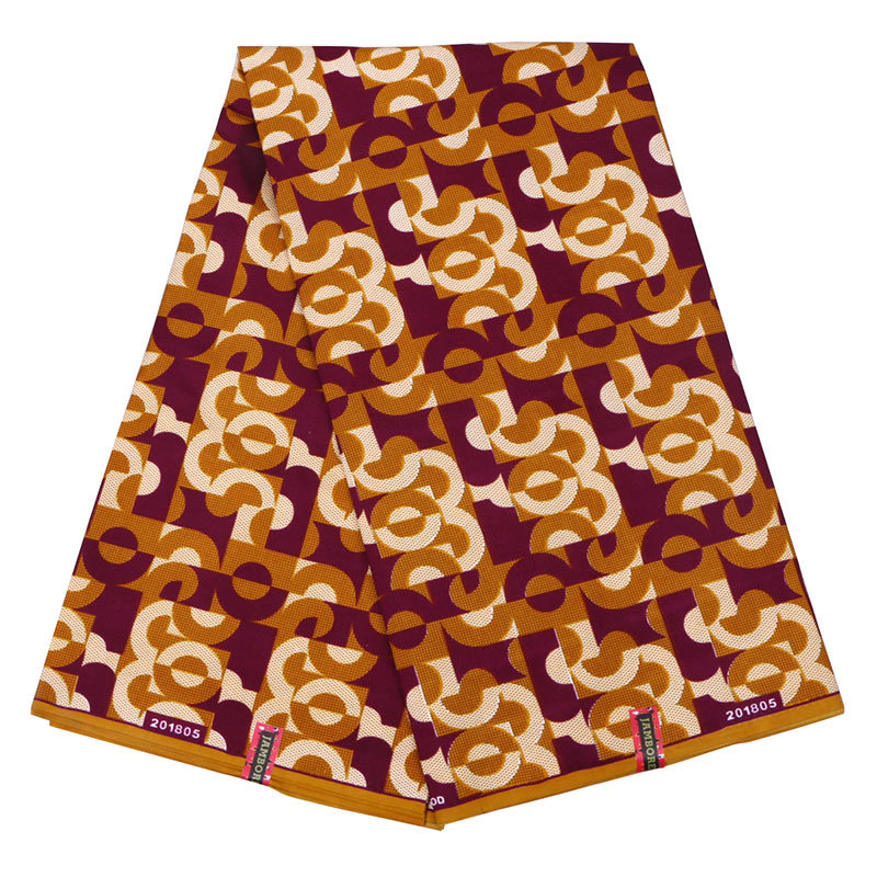 2019 Latest Arrivals African Pagnes Real Dutch Guaranteed Veritable Wax Orange & Brown Printed Fabric 6Yards\set