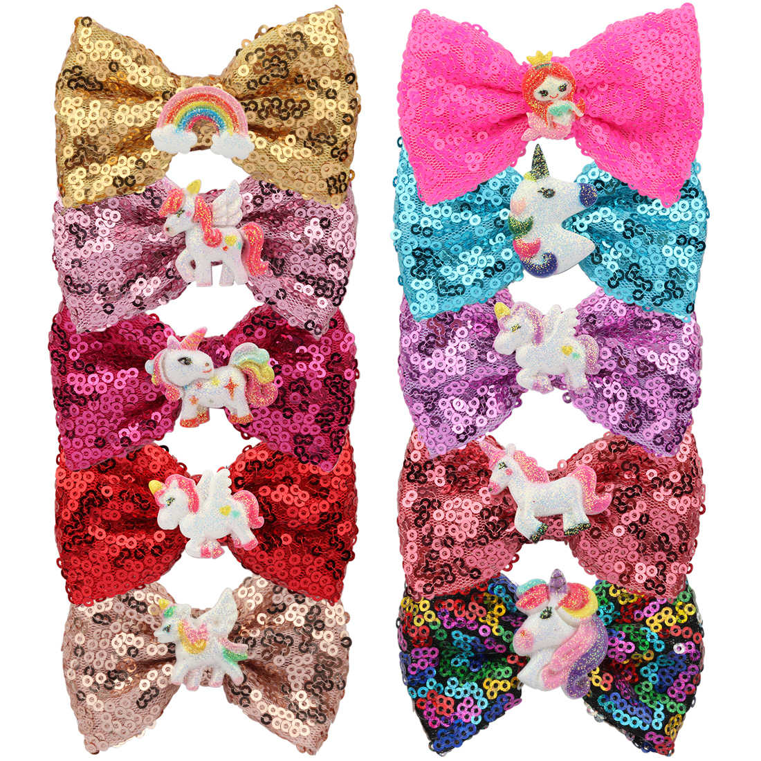1 PC Girls Glitter Bows Hairpins Unicorn Barrettes Mermaid Princess Children Shiny Hairbows 3 Inch Bow Kid Hairgrips Head Wear