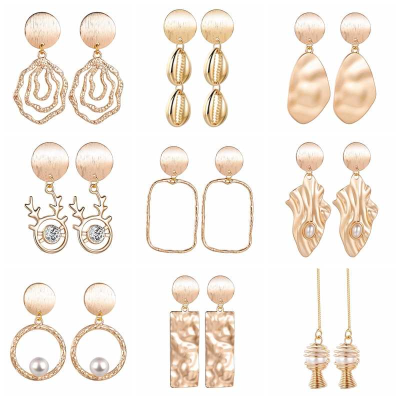 ゴールド手作り幾何ビッグピアス女性レディースクリスタルパール声明ジュエリーシンプルなスタッドドロップファッションイヤリング
